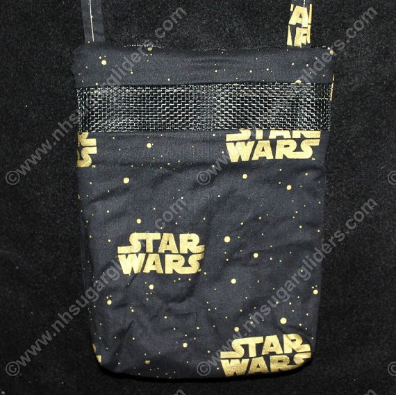 Black & Gold Stars Sugar Glider Carry & Bonding Pouch